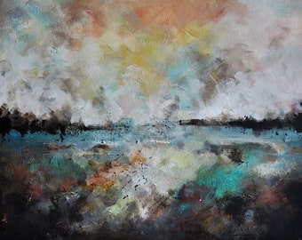 """Original Abstract Painting Modern Art Winter Lake Reflection Neutral Color Palette 12""""x16"""""""