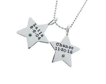 Star Necklace Personalized with Names & Diamond Birthstones Celestial Pendant Necklace Silver Star Charms Custom Hand Stamped