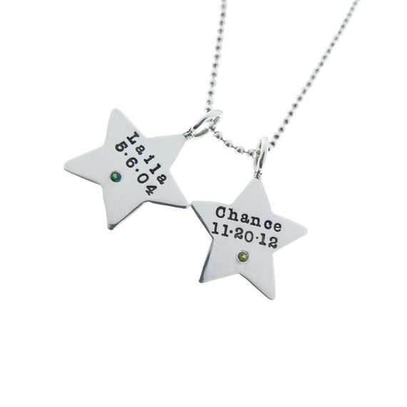 Personalized Birthstone Double Pendant Necklace Sterling Silver Star Charms Custom Hand Stamped Engraved Artisan Handmade Mommy Twin Jewelry