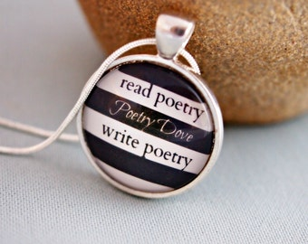 beatnik poet necklace, black and white striped pendant, hipster necklace