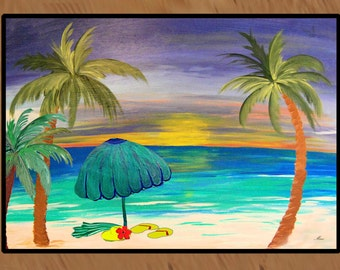 At the Beach area rug indoor-outdoor area rug,  Floor Mat. Available in 3 sizes