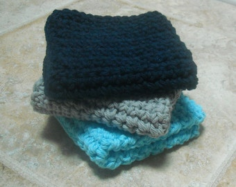 Three Cotton Washcloths Crocheted Navy, Grey, and Turquoise