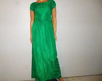 """Vintage 50's - Green - Taffeta - Column - Embossed - Wiggle - Maxi - Gown - Dress - Bust 36"""""""