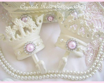 French Ivory Crown Hook(s) with Pearls Your Choice of Paint & Pearl Colors Princess Decor Shabby Chic Girls Room Nursery Bed Crown Tie Backs