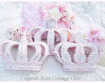 Set of Three Pale Pink Distressed Wall Crowns Shabby Chic Decor Girls Room Nursery Wall Decor Fleur de Lis French Rococo Pink Princess Decor
