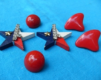 Vintage Lot 3 Pr Earrings Red and Red White Blue One Lone Star of Texas with Bling