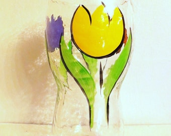 Vintage Glass Vase-Early 1990s Tulips