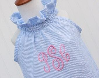 The Morgan...Girls Seersucker Dress, Girls Monogrammed Dress