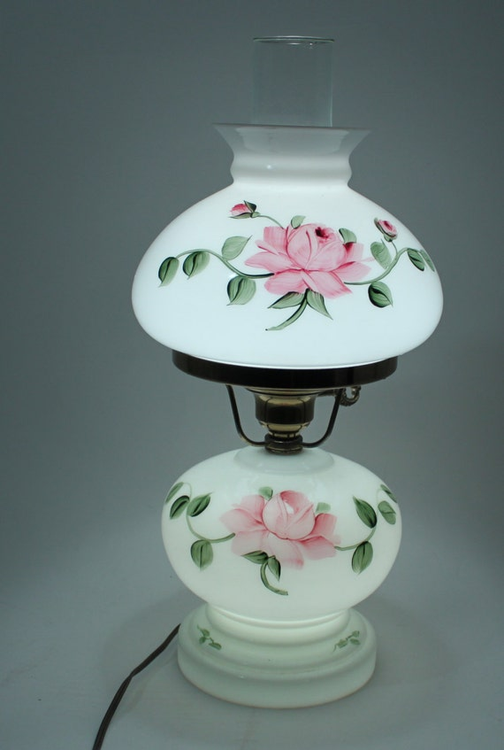 Vintage White Hand Painted Roses Hurricane Lamp 3 Way Works