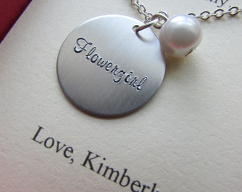 Ask Flowergirl, Bridal Party Gift, Handstamped charm necklace. Other Color Pearl Available. FREE Notecard Jewelry Box.