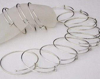 Silver Plated Expandable Bracelets 2.5 To 3 Inch Antique Silver 12 Pack   SALE