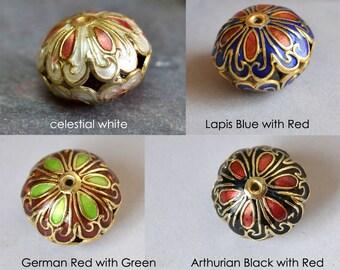 Cloisonne puffy Roundel Flower focal Bead, CHOOSE COLOR, Golden, Metal Alloy 28x13mm