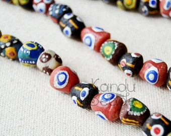 Handmade Recycled Glass Beads African Trade Beads  (Made In Ghana) Rough Surface  Great Texture