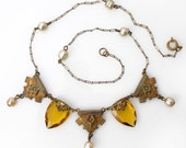 EDWARDIAN style necklace topaz glass gems Brass and pearl drops Vintage parts Modern Assembly Assemblage Necklace ARTISAN