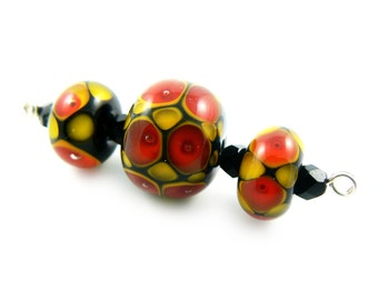 SALE - Red Lampwork Beads - Handmade Lampwork Beads - set of 3 Beads - Black, Yellow, Dots, Reduced, Bead Sale, Destash  - MadeByFire