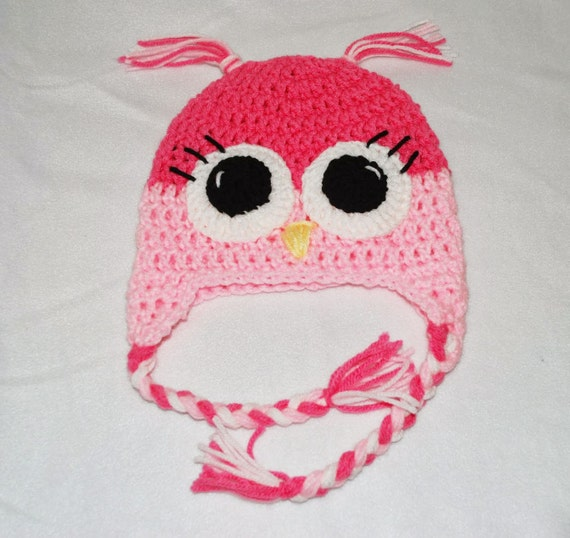 Crochet Beanie Hat - Pink - Crochet Hat - Owl Hat