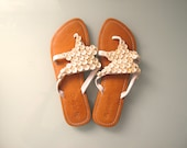 70s Vintage Bone and Bead Embellished Sea Star Leather Sandals size 37 US 7 to 7.5 Beach Thongs OndadeMar