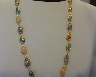 Vintage Caged Semiprecious Stone Necklace