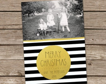 Photo Christmas Card : Gold Dot Black & White Stripes Merry Christmas Custom Photo Holiday Card Printable