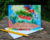 Greeting Card - Let's Have An Adventure // Red Canoe with white calligraphy