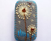 FB-126  -  Rectangle Shape Dandelion inspired handmade felt brooch - Dark Grey