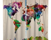 Custom Window Curtain Watercolor World Map- Any Size - Any Colors