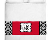 Custom Personalized Bed Runner - Scarf - Black & White Damask with Solid Color Inset Your Colors - 3 bedding sizes