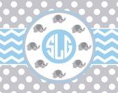 Nursery Elephant Theme Plush Fuzzy Area Rug - Grey polka dots sky blue, pink or Navy accent,  Size 48x30, 60x48, 96x44. 96x60   inches