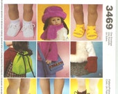 Doll Accessories Pattern McCall's 3469 Uncut Shoes Backpack Purse