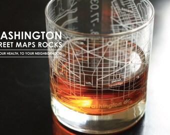 Washington DC Maps Rocks Glass, set of 4