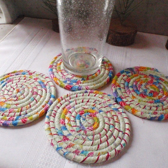 Minty Fresh Coiled Fabric Coasters Set of 4 for by ...