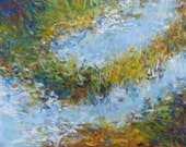 Large Abstract Painting 20x30 Canvas Wall Art Impressionist Landscape Water Horizontal - Sanctuary by Jessica Torrant