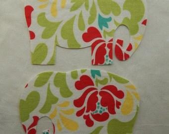 2 Large Fabric Appliqué Iron On Elephants