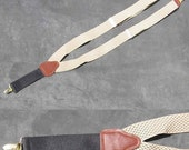 Suspenders Braces Beige with Small Black Pattern
