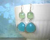 Mint Earrings, Green Earrings, Silver Earrings, Aqua Earrings, Fluorite Earrings