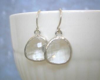 Clear Earrings, Crystal Earrings, Silver Earrings, Best Friend Birthday, Bridesmaid Earrings, Mother Gift, Sister Gilf