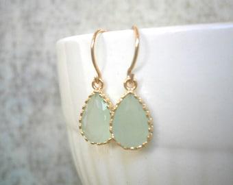 Petite Fluorite Green Earrings, Gold Earrings, Bridal Jewelry, Bridesmaid Earrings, Best Friend Birthday