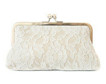 Lace Bridal Clutch Bag, Ivory Purse, Bridesmaid Evening Clutch,Champagne Purse, Dupioni Silk Something Blue Ready to Ship Made in England UK