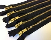 Gold tone metal zippers wholesale, 7 inch zippers, five pcs, perfect for jewelry, bracelet making, brass zippers, black tape