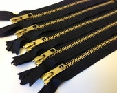 20 inch metal zippers, FIVE pcs, gold teeth zippers, black tape