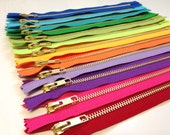 9 inch metal zippers, TWELVE pcs, brass gold teeth YKK zippers, red, pink, purple lavender, yellow, lime, green apple, turquoise, blue