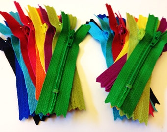 3 inch YKK zippers wholesale, 24 pcs, brights, black, royal blue, turquoise, aqua, red, hot pink, sunflower, orange, yellow, fuchsia, green