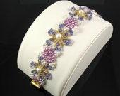Woven Purple Crystal and Mauve Pearl Bracelet
