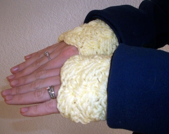 Women's Crochet Wrist Cuff Warmers in Yellow with Free US Shipping