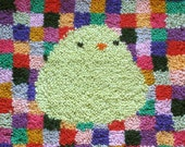 happy cute bird - latch hook rug pattern - pdf