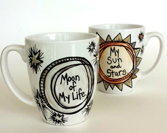 Sun Moon Stars Ceramic Love Mug Set Painted Khal Khaleesi Metallic Silver Gold Hearts Arrows Custom GoT - Made to Order