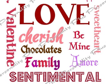 Valentine's Day Subway Art  Instant Download. Candy Colors.  Printable High Resolution JPG. DIY