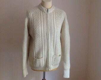 70s Chunky Cream Wool Cable Knit Cardigan Blazer Sweater Medium Large