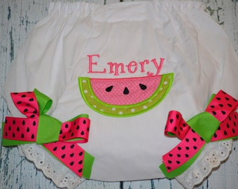 Personalized Watermelon Bloomers Monogram Bloomer Diaper Cover