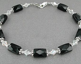 Swarovski Crystal and Black Onyx Bracelet - Faceted Onyx Gemstone Bracelet